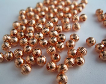 3mm Corrugated COPPER BEADS, 100 Pieces, Bright Copper or Hand Oxidized