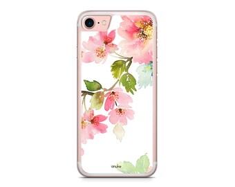 Pink Floral Watercolor iPhone Case iPhone 8 case 8 plus iphone 7 case 7 plus 6 6s 6s plus SE 5 5s 4 4s Samsung S7 S7 Edge S8 S8 Plus