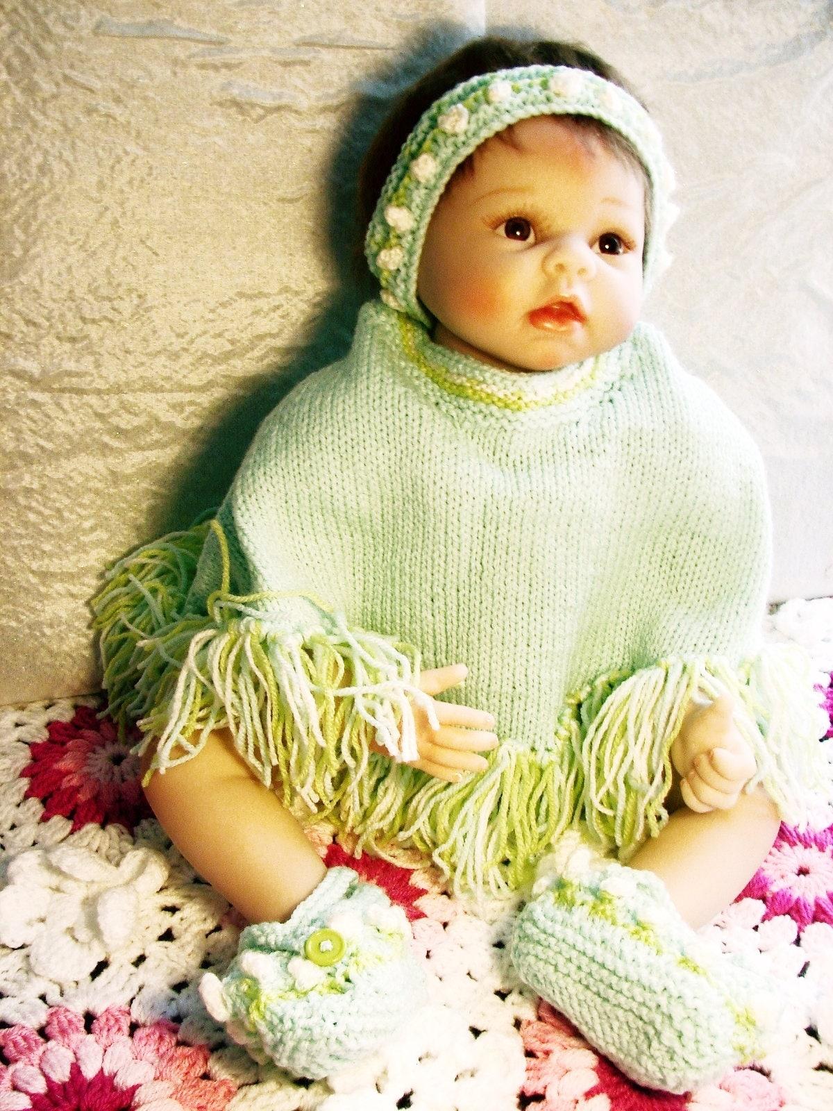 Baby Knitting Pattern - - Baby Poncho Set - Baby Knitting Pattern ...