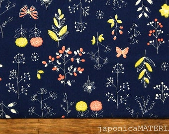 Japanese fabric, 1/2 yard, Flower & Leaf Navy, 100% cotton