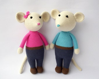 PDF Mouse Gigio and Gigie,  Crochet Toy,  DIY tutorial