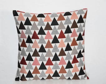 Cushion - 40 x 40 cm - fabric cover * pattern * triangles print - multicolors