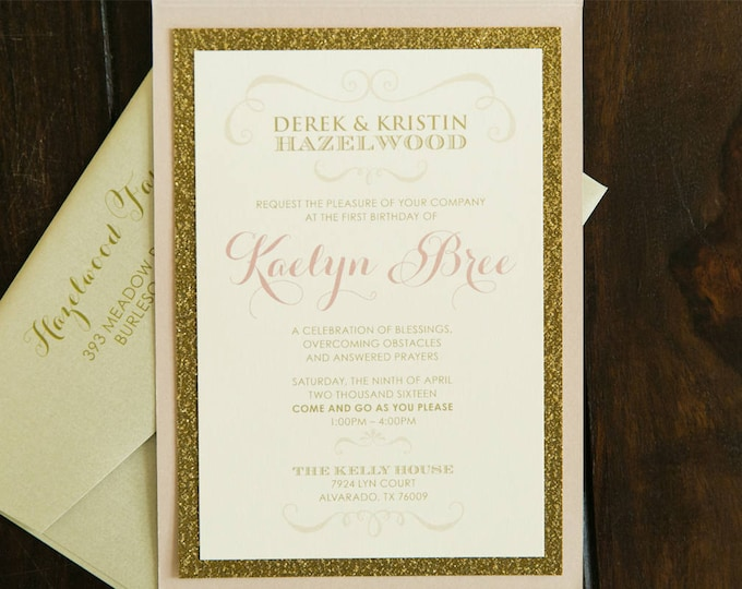 5x7 Bush Pink, Gold Glitter & Scalloped Die Cut Pocket Wedding Invitation with Inserts and Return Address Printing. Different Colors Options