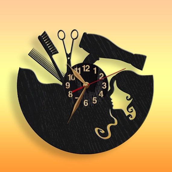 Beauty Salon BIG Wood Clock Hair styler Non-ticking Wall Art