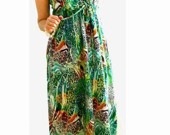 Green print pockets maxi dress- Halter animal print dress- Women fashion tropical dress- Strappy maxi summer dress- Sexy drape long dress