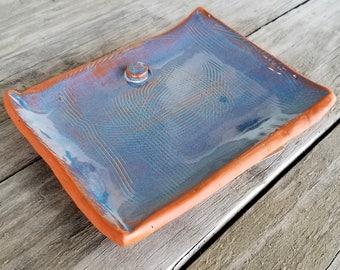 Rustic Trinket Tray - Jewelry Dish - Blue - Terracotta - Soap Dish