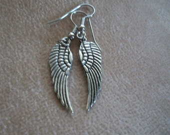 Silver Angel Wings Earrings, Bird Wing Earrings,   by Brendas Beading on Etsy