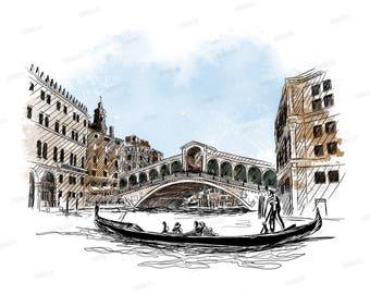 Venice-Illustration Digital watercolor