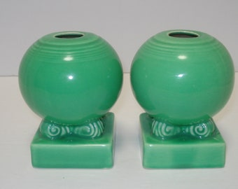 Vintage Fiestaware Light Green Pair of Bulb Candleholders, 1930's NOT P1986