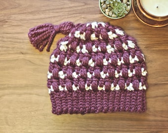 Jam & Biscuits Beanie | Slouchy Beanie with Tassel | Wool Winter Crochet Hat | Purple and Cream Knit Hat