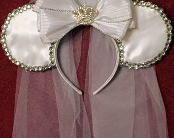 Satin & Bling Bridal Mickey Ears