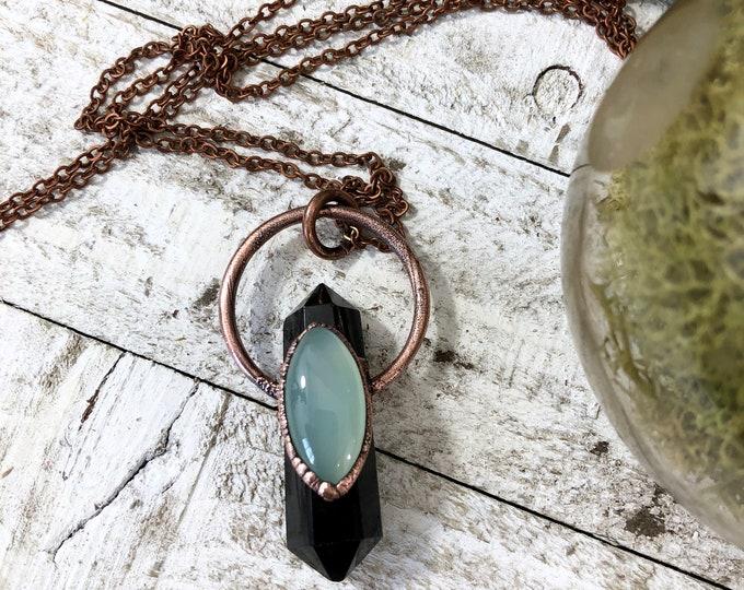 Crystal Necklace Black Obsidian Blue Chalcedony Necklace