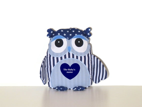 Decorative pillow, owl pillow, navy blue personalized owl pillow,  navy blue nursery, dorm decor