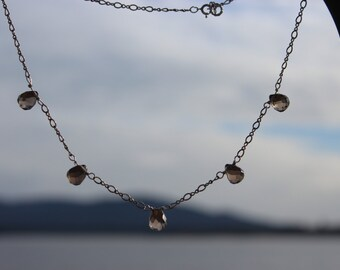 Faceted Smokey Quartz and Sterling Silver Necklace