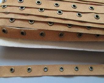 Tan Faux Suede 1.6cm eyelet tape x 1 metre