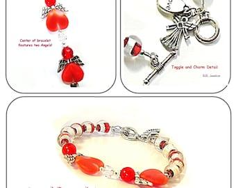 Angel Bracelets, Red Valentine Angel Bracelet, Angel Charm Jewelry, Car Charms, Angel Sun Catcher - B2013-09