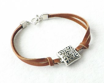Southwest Saddle Leather Silver Minimalist Stacking Bracelet, Sundance Style Rustic Native American Simple Jewelry, Girl Friend Sister Gift