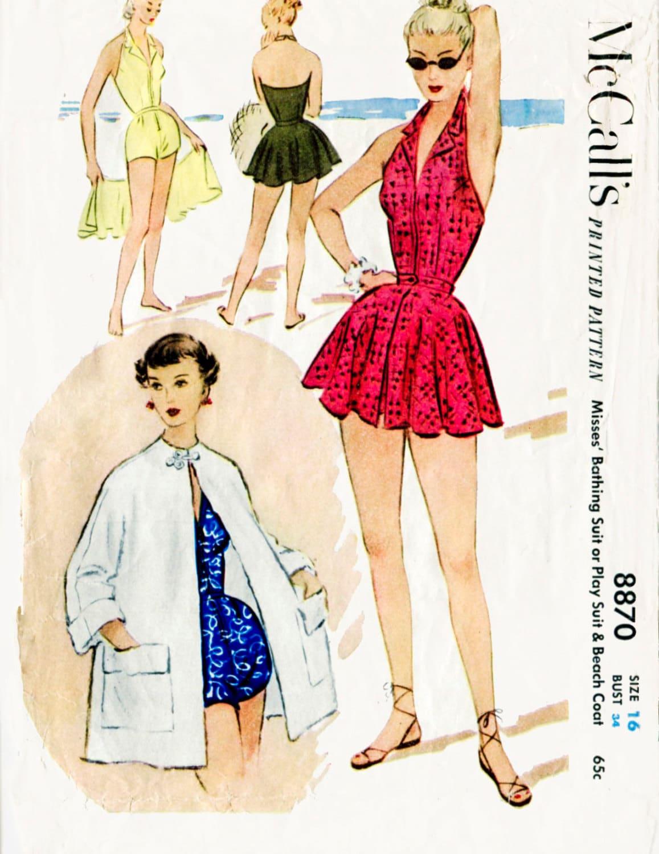 1950er Jahre 50er Jahre Vintage Badeanzug Schnittmuster ein