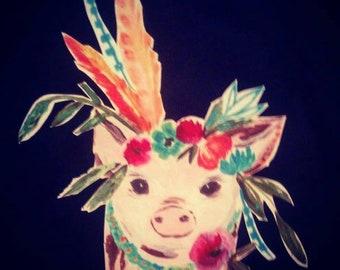 Boho pig, floral, boho, pig