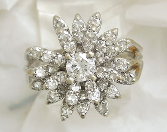 Vintage Starburst Diamond Cluster in White Gold