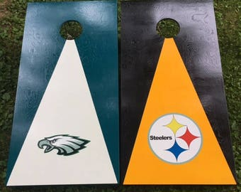 Painted Cornhole Boards  Divided house   NFL NBA NHL MbA Collegiate