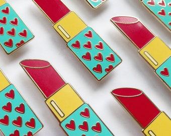 Seconds Sale! Heart Lipstick Gold Enamel Pin