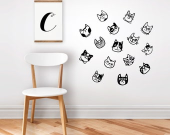 Cats wall decal, wall sticker, kids room wall sticker, cats sticker,  kids room decor, nursery art, cat lover gift