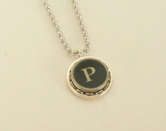 Typewriter Key Necklace -  Letter P - Vintage - Initial Jewelry -  ALL Letters Available - Typography Jewelry