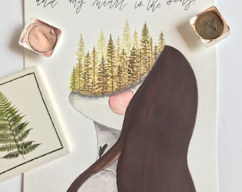 faceless woman, nature, wood, poetry, modern calligraphy
