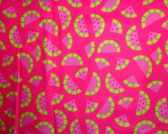 Pink Watermelon Cotton Fabric by the Half Yard