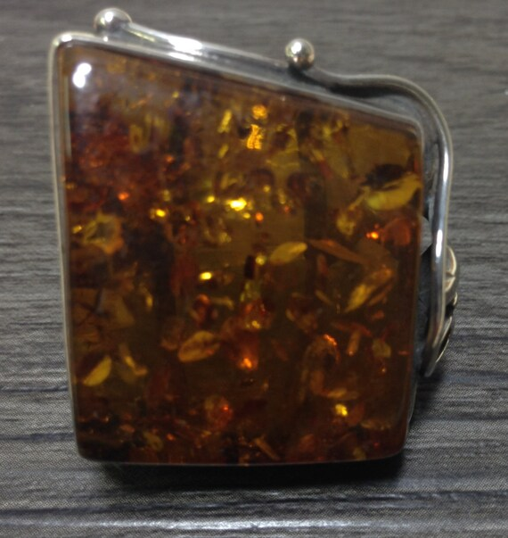Russian Sterling Silver Amber Handmade Handcrafted Yellow Brown Amber Tree Amber Healing Amber Vintage Amber Silver Ring