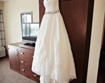 Pearl and Rhinestone Flower Bridal Sash - Wedding Dress Belt