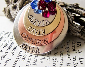 Hand Stamped Name Necklace with FOUR Names - Custom Birthstone Charms - Four Discs