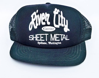 1980s Mesh Back Truckers Hat with River City Sheet Metal Logo, Spokane, WA,  Workman's Hat