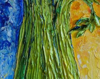 Celery 8x24 Inch Original Impasto Oil Painting by Paris Wyatt Llanso