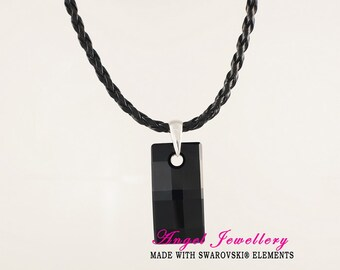 New Men's Dog Tag With Swarovski Black Crystal Pendant Woven Leather Necklace