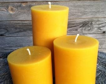 """Set of 3 Pillar Beeswax Candles-  each 3"""" wide"""