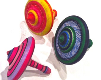 Handmade Wooden Spinning Tops -- colorful, fun toys