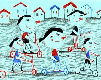 Scooters  / ORIGINAL ILLUSTRATION / Children decor / kids art / House view / Cyan / Happy kids-Original Pencil Drawing