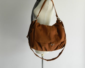 Canvas Messenger zipper bag,Cognac brown diaper bag ,Canvas Shoulder bag,cross body bag,gift for her - Sale 25% - / no.18 -DANIEL