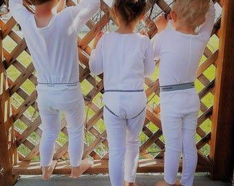 Size 5, 6, 7 Long Underwear Union Suit One Piece Boy Girl White