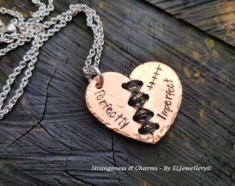 Hand Stamped 'Perfectly Imperfect' Copper Stitched Heart Necklace,Broken Heart,Mended Heart, Heart Surgery,Courage,Flaws, Scars, Warriors.