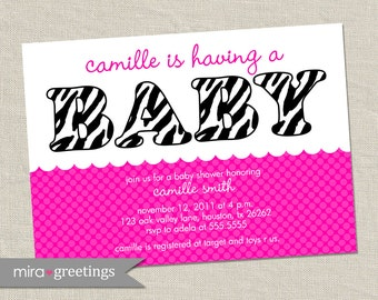 Pink Zebra Baby Shower Invitations - Printable Digital File