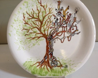 """10"""" dinner plate with Steampunk Tree"""