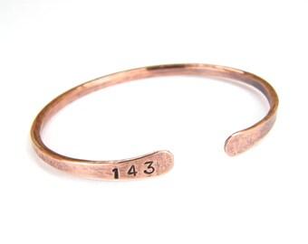 143 Antiqued Copper Bracelet, Hand Stamped Copper Bracelet, 8-Gauge, Mens or Womens, Made To Order