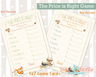 Sweet Woodland Baby Shower Price is Right Game Instant Download Boy\Girl | Forest Friends Baby Shower Activity | Woodland Animals