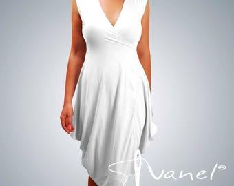 Wrap dress / Sleeveless dress/ Loose dress /Cross neckline dress / Elegant dress / Casual Dress / IVANEL / 28 colors, S, M, L, XL, XXL