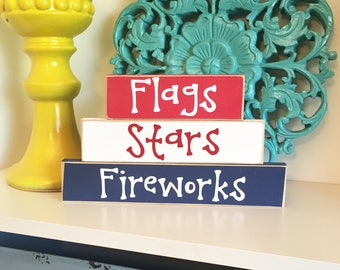 4th of July Blocks- 4th of July Decor, USA Decor, Patriotic Decor, Summer Decor, Summer blocks, USA Blocks, 4th of July Blocks,