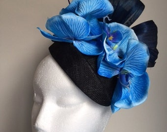 Stunning blue orchid air hostess fascinator with silk abaca loops! One only!