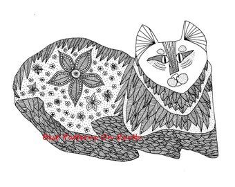 Cat Coloring Page - Zen Cat - Hippy Trippy Cat - Adult Coloring Pages - Kids Coloring Book PDF